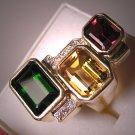 Estate Designer Jewelry Tourmaline Garnet Diamond Citrine Ring