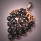 Estate Sapphire Pendant Gold Silver Vintage for Necklace