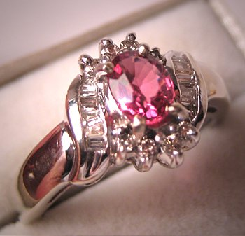 Vintage Diamond Pink Tourmaline Wedding Ring