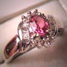 Vintage Diamond Pink Tourmaline Wedding Ring