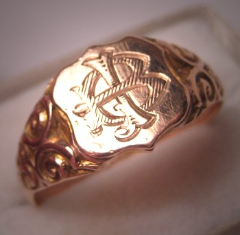 Antique Rose Gold Signet Ring English Wedding Band 9ct