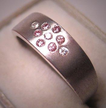 Estate Pink Diamond Wedding Ring Band 18K White Gold Vintage
