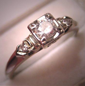 Vintage Art Deco Diamond Wedding Ring White Gold Estate