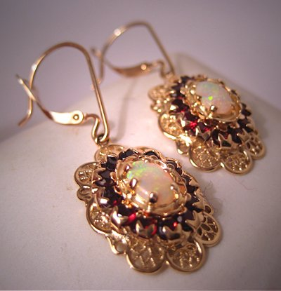 Vintage Garnet Opal Earrings Gold Filigree Estate Victorian