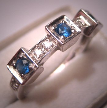 Vintage Sapphire Diamond Wedding Band White Gold Deco Ring