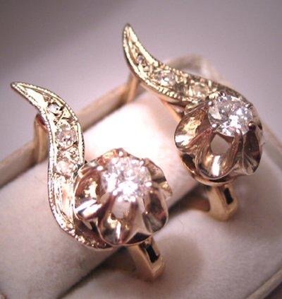 Antique Diamond Earrings Vintage Art Deco