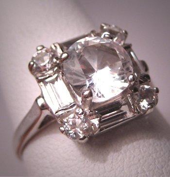 Antique White Sapphire Wedding Ring 14K Vintage Art Deco
