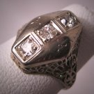 Antique Diamond Wedding Ring 18K White Gold Art Deco