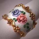 Antique Vintage Guilloche Enamel Ring Victorian - Deco Style