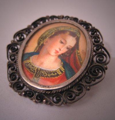 Antique Italian Renaissance Portrait Pin Pendant Filigree