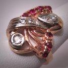 Antique Platinum Diamond Ruby Ring Art Deco Wedding 30s