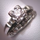 Antique Wedding Ring Set Vintage Diamond Deco Wt. Gold