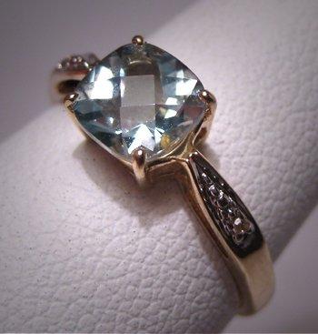 Vintage Aquamarine Diamond Wedding Ring Estate Gold