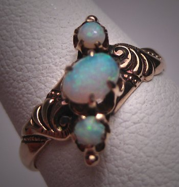 Antique Victorian Australian Opal Wedding Ring 14K Gold