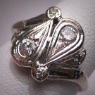 Antique Diamond Wedding Ring Vintage Art Deco W. Gold 7