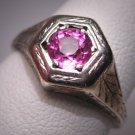 Antique Pink Sapphire Wedding Ring Vintage Art Deco 14K