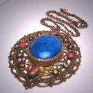 Antique Czech Lapis Paste Necklace Pendant Vintage Deco