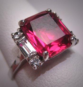 Antique Ruby Ring Vintage Art Deco Wedding W. Sapphire