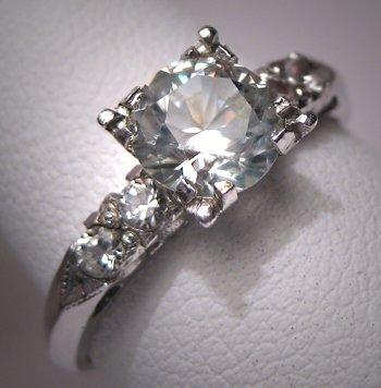 Antique White Sapphire Wedding Ring Vintage Art Deco