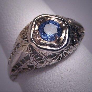 Antique Sapphire Wedding Ring Vintage Art Deco 18K Band