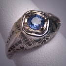 Antique Sapphire Wedding Ring Vintage Art Deco 18K Band