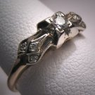 Antique Diamond Wedding Ring Vintage Art Deco Band 14K