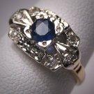 Antique Royal Sapphire Diamond Wedding Ring Vintage 30s