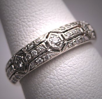 Vintage Diamond Wedding Band Ring Art Deco White Gold 7