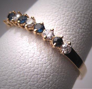 Vintage Diamond Sapphire Wedding Band Ring 14K Gold