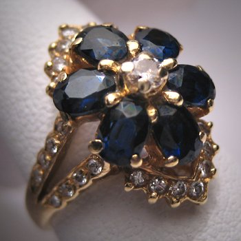 Vintage Sapphire Diamond Ring 18K Gold Estate Wedding