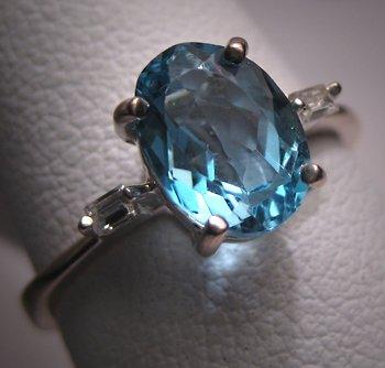 H. Stern Vintage Aquamarine Wedding Ring Diamond 18K WG
