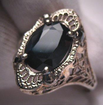 Antique Sapphire Wedding Ring Vintage Art Deco W. Gold