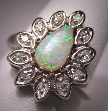 Vintage Australian Opal Diamond Ring Antique Retro Deco