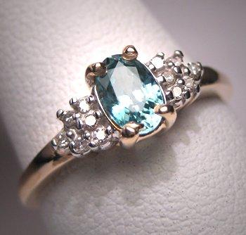 Vintage Aquamarine Diamond Wedding Ring Gold Estate