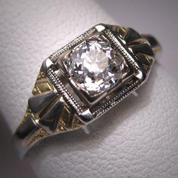 Antique Diamond Wedding Ring Vintage Art Deco Half CT