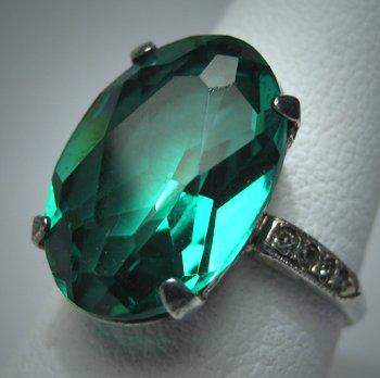 Antique Emerald French Paste Ring Vintage Art Deco 20s