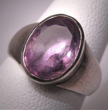 Vintage Amethyst Ring Sterling Silver Faceted Gemstone