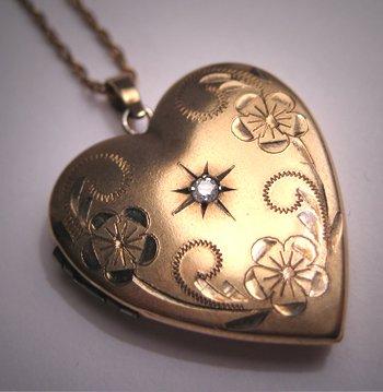 Antique Diamond Locket Necklace Pendant Vintage Gold