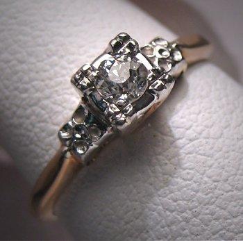 Antique Wedding Ring Euro Diamond Vintage Art Deco Gold