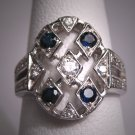 Vintage Platinum Diamond Sapphire Wedding Ring Art Deco