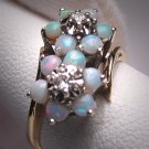 Antique Vintage Opal Diamond Ring Wedding Gold Band 5