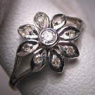 Vintage Diamond Wedding Ring White Gold Art Deco Floral