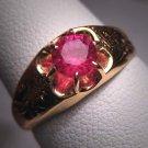 Antique Ruby Wedding Ring Victorian 18K Gold Vintage 7