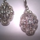 Vintage Diamond Earrings Art Deco Style White Gold Drop
