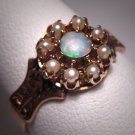 Antique Opal Ring Vintage Victorian Pearl Wedding Band