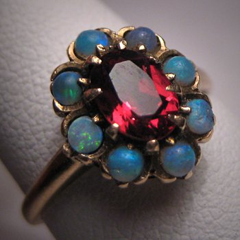 Antique Opal Garnet Ring Gold Vintage Victorian Wedding