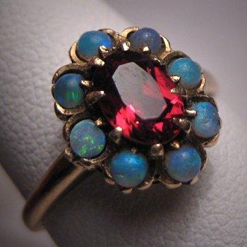 Antique Opal Garnet Ring Gold Vintage Victorian Wedding