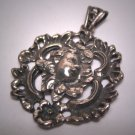 Antique Cherub Pendant Vintage Victorian Silver French