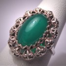 Antique Australian Jade Ring Vintage Art Deco Silver