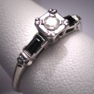Antique Diamond Sapphire Wedding Ring Vintage Art Deco
